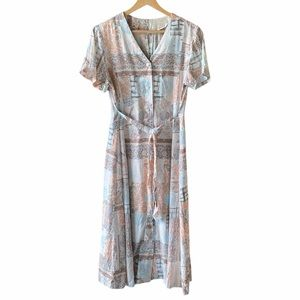 VINTAGE Printed Button Down Short Sleeve Dress